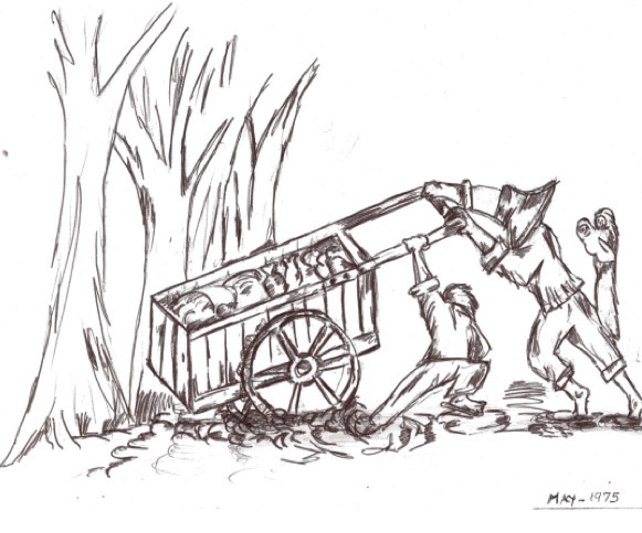 Pushing the handcart through the mud. Drawing by Alain Eav.