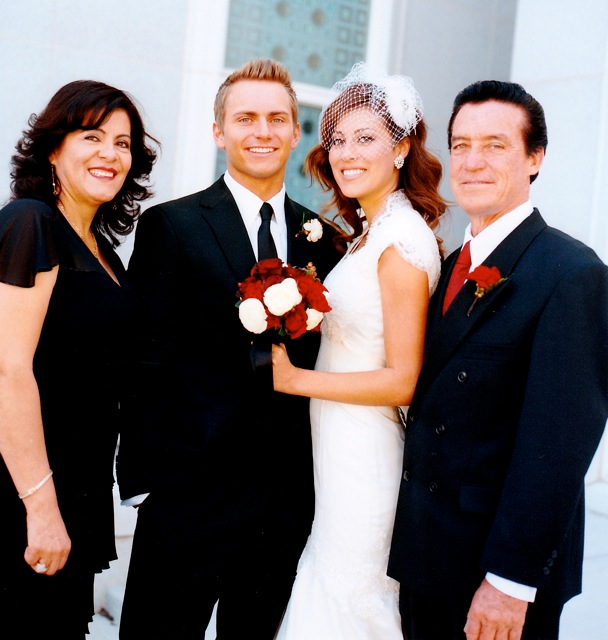 Arleene with her parents and husband Hyrum