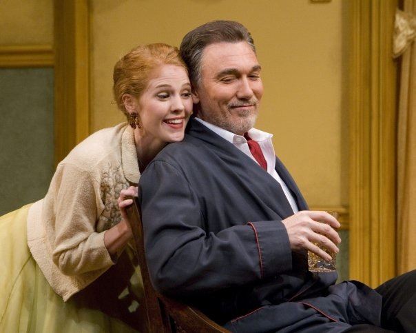 """Erin with Patrick Page in """"The Pleasure of HIs Company"""" at the Old Globe in San Diego."""