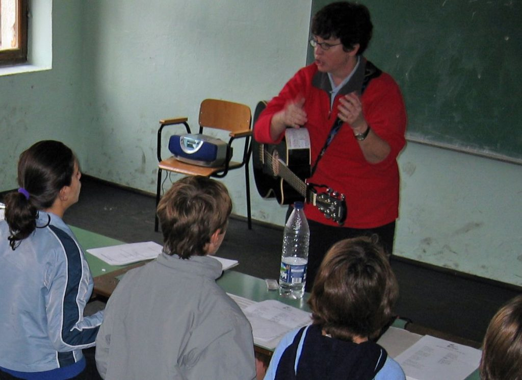 Liz teaching in Kosovo, 2004.