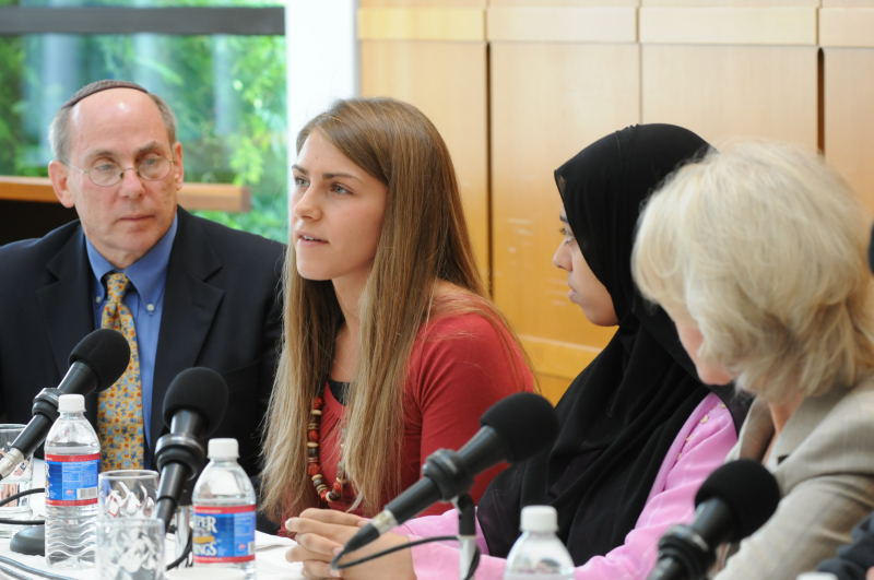 Rachel speaking on the Day of Faith interfaith panel at Harvard, September 2008